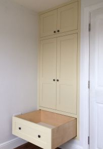 Bespoke Shaker style wardrobe painted in Little Greene Stone Pale Cool No Made by Karl Rees > Cabinet Maker Bespoke Furniture, Furniture Design, Little Greene, Cabinet Makers, Shaker Style, Furniture Making, Armoire, Lounge, Cool Stuff