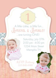 Twins First Birthday Party Invitation Cupcake Twins First - Birthday invitation cards twins