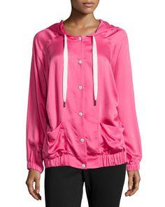 Escada Long Hooded Charmeuse Jacket, Women's, Size: 34, Bubble Gum