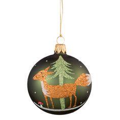 Weihnachtswelt Kugel Grün mit Fuchs, 7 cm
