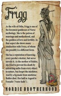 Frigg was at the highest rank in the Aesir goddesses. In other words, she was th… – Norse Mythology-Vikings-Tattoo Norse Goddess, Norse Pagan, Celtic Mythology, Goddess Of Love, Beautiful Goddess, Moon Goddess, Greek Mythology, Triple Goddess, Goddess Art