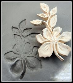 Bisque Clay Stamp,  Large Flower with Leaves  for stamping on stoneware clay, polymer clay, metal clay, crafts, and fondart foods ( 0084 )