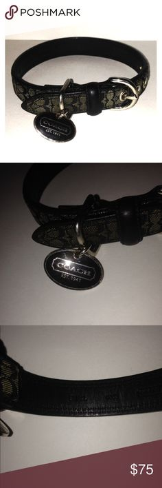 "Coach Signature Black Dog Collar w/Box Size Small Good pre-owned used condition. Fits 11-13"" with 5-option length adjustment. May have slight dog smell as it was gently worn. Includes box and engravable Coach charm. Coach Accessories"
