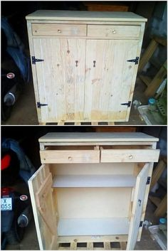 Some Interesting DIY Ideas with Wood Pallets: Currently the use of the wood pallet material is taking the place of all other materials of plastic and mirror for the reason that wood pallet. Wood Pallet Wine Rack, Wood Pallet Planters, Wood Pallets, Pallet Cabinet, Cabinet Boxes, Pallet Furniture Plans, Bench Furniture, Diy Cabinets, Cupboards