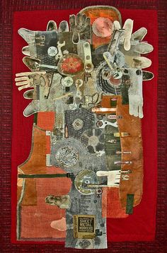 ⌼ Artistic Assemblages ⌼ Mixed Media, Journal, Shadow Box, Small Sculpture Collage Art - Dave Savona   Construction Worker
