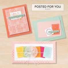 The Posted for You Bundle includes the Posted for You Stamp Set and the Rectangular Postage Stamp Punch. Our craft bundles make coordination easy. Stamp & tool bundles help you quickly cut out stamped images for a single project or create multiples of the same project with ease. Contact your Stampin' Up! Demonstrator or go to our online store today!
