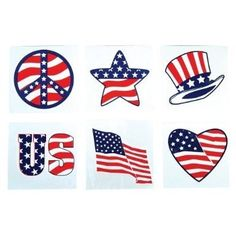 Privateislandparty.com - Stars and Stripes Patriotic Temporary Tattoos - 144 9132 $4.99  Show your patriotism with these Stars and Stripes Patriotic Temporary Tattoos. Great for Kids and Adults face painting to compliment! All around a great Party Favor!  Great for Election Day, Memorial Day and of course 4th of July and any day you want to show your patriotism.