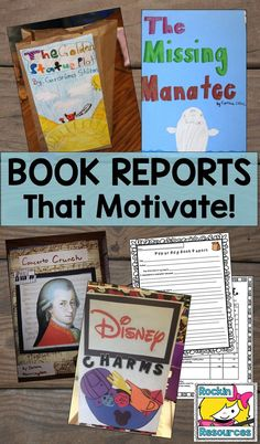 Find ideas for book reports that motivate your students to want to write! Many genres- biography, mystery, fiction, fantasy, tall tale, historical fiction, etc. There is even a choice book report. Use cereal box, paper bags, etc.