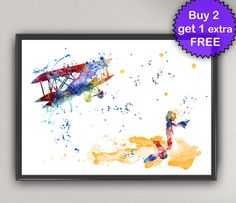 The LITTLE PRINCE Nº22 Watercolor Print - Le Petit Prince fox and plane Ink Saint-Exupéry art for kids Painting Print kids Gift Poster