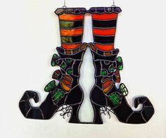 Stained Glass Witches Boots Suncatcher Halloween Decoration