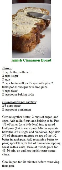 Amish Cinnamon Bread: by terrie Cinnamon Bread, Cinnamon Rolls, Amish Banana Bread Recipe, Sweet Sourdough Bread Recipe, Coffee Bread Recipe, Apple Bread, Quick Bread, Amish Food Recipes, Baking Recipes