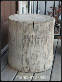 Tree stump table, from our back yard renovation; Use as side tables in the outdoor living room...