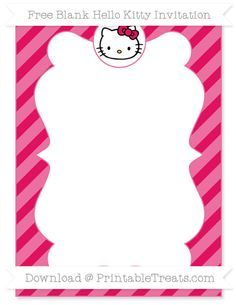 Free Ruby Pink Diagonal Striped Blank Hello Kitty Invitation