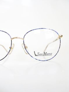 0121a38cdca0 Vintage 1980s Round Eyeglasses Womens Blue Sapphire Geek Chic Frames  Glasses Optical Frames Wire Rim Minimalist Hipster Fashion