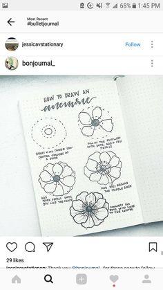 How to draw  Flower Bujo Bullet journal.  Pinterest @alichristin4