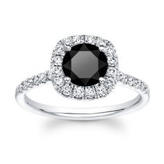 14kt white gold cushion top 2ct Round Brilliant Black diamond engagement ring 0.50 ctw G-VS2 quality diamonds. $1,695.00, via Etsy.