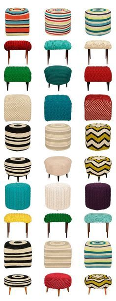 puffs trico e croche zizi maria - stool covers Crochet Home Decor, Diy Home Decor, Stool Covers, Pillow Covers, Cushions, Pillows, Cool Furniture, Upholstery, Shabby
