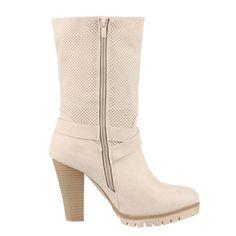 37c112c78 Online moda botines a la pantorrilla color blanco crema con cremalleras y  hebillas con tacon cuadrado