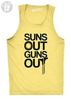Mens Suns Out Guns Out Tank Funny Workout Tanks Hilarious Gym Shirt (Yellow) L - Birthday shirts (*Amazon Partner-Link)