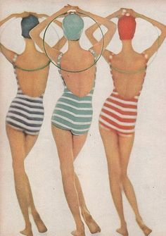 striped 1930's swimsuits..