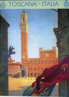 Vintage Travel Poster Tuscany Italy circa 1925 by wifecruella, $6.00