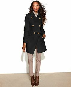 DKNY Coat, Double-Breasted Wool-Blend Cutaway-Hem - Coat Specials - Women - Macy's