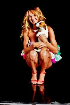 Candice Swanepoel and her dog.