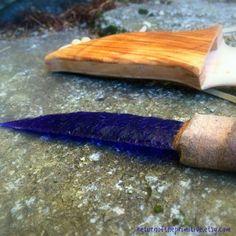 Blue Glass Flint Knapped Knife With Koa by ReturnOfThePrimitive