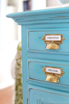 Chalk painted, glazed, and waxed furniture makeover tutorial.  {InMyOwnStyle.com}  #Turquoise  #furnituremakeover  #chalkpaint