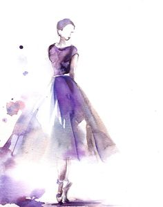 Ballerina Watercolor Painting Art Print, Purple, Ballerina Painting, Watercolor Art, Dance Art