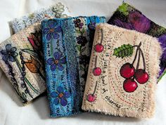 fabric journals by textile artist Frances Pickering. Schoenfeld Schoenfeld Beth check out her whole website, it's amazing. Art Textile, Textile Artists, Textile Texture, Handmade Journals, Handmade Books, Fabric Book Covers, Fabric Books, Fabric Art, Fabric Crafts