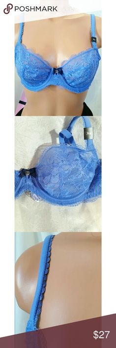 34b NWT Victorias Secret Light Blue Demi Lace Bra Lovely new Victorias Secret Light Blue Demi Lace Bra.  Body by Victoria unlined demi pushup w wore.  Padded straps accented by lace or crochet.  It's a 36b but runs small so listing a 34B.    Lovely to pair w blue jeans.  Second photo shows color better which is like a cornflower blue Victoria's Secret Intimates & Sleepwear Bras