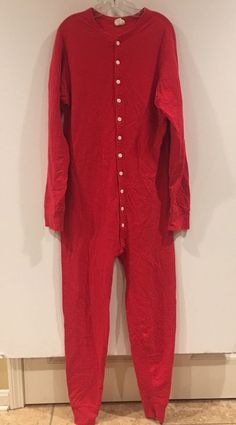892a7767a975 LL Bean Mens Red One Piece Full Body PJs Pajama Long John Butt Flap Large  Tall