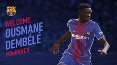 Dembele joins Barcelona from Borussia Dortmund Neymar, Barcelona Fc, Fc Barcelona Wallpapers, Camp Nou, One Team, Sports News, Sports And Politics, Presentation, Soccer