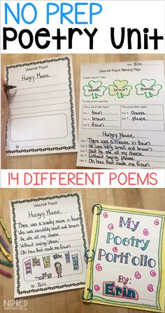 This Poetry Unit motivates students to write and is absolutely no prep for you! Included are original poem samples, introduction pages, student planning pages, final copy paper choices, portfolio pages and more!