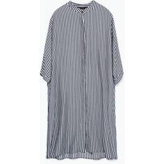 Zara Oversize Longline Shirt ($50) ❤ liked on Polyvore featuring tops, dresses, oversized shirt, shirts & tops, zara top, zara shirt and longline top