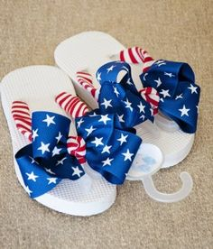 Girls 4th of July Flip Flops- could DIY by adding patriotic ribbon to plain flip flops