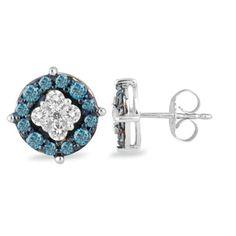 1/2 CT. T.W. Enhanced Blue and White Diamond Frame Earrings in 10K White Gold - Zales