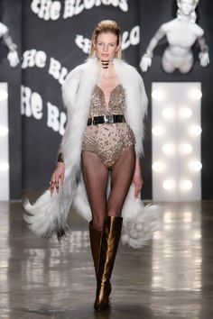 The blonds fall 2015 - cream embellished bodysuit, bronze boots