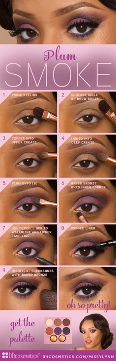 Check out our official blog at www.bhcosmetics.com/blog/ to see a step-by-step tutorial on how to get this Smokey Plum Look featuring the new Missy Lynn Palette!