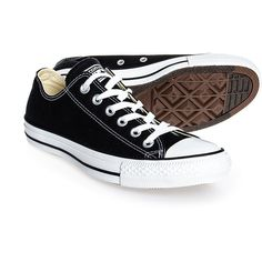 Converse All Stars Ox black shoes - all black Converse - all stars... ($60) ❤ liked on Polyvore featuring shoes, sneakers, converse, flats, converse trainers, canvas flats, canvas shoes, flat pumps and converse flats