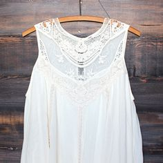 cream boho crochet lace dress<< I'd probably wear it with jeans or pastel leggings
