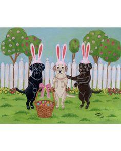 Easter Bunny Labradors Art Print