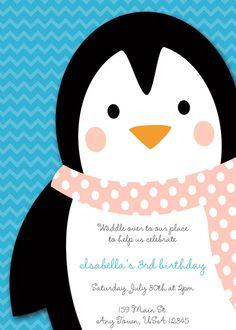 Printable Birthday Party Invitation  Penguins by inglishdigidesign, $10.00