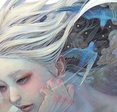 Miho Hirano oil painting on wood panel art woman with birds fine detail technique and beautiful soft colors.