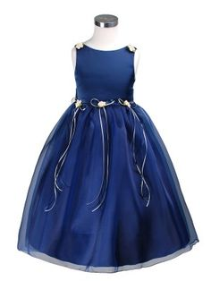 Navy Elegant Satin Bodice Flower Girl Dress; this is the flower-girl dress that Abby chose for her uncle's wedding in Sept. @Jalaine Williams do you approve?