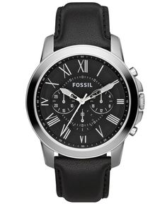 Fossil Watch, Men's Chronograph Grant Black Leather Strap 44mm FS4812 - Men's Watches - Jewelry & Watches - Macy's