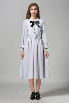 9ae2af539f Autumn Ladies Vintage Expansion Bottom Pleated Peter Pan Collar Long ...