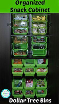 Ria's World of Ideas: Organized Snack Cabinet CABINET organization ideas indian Kitchen Cabinet Organization, Pantry Storage, Home Organization, Food Storage, Household Organization, Cabinet Ideas, Kitchen Organizers, Storage Bins, Diy Storage