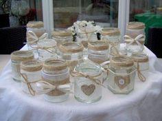 Shabby chic/vintage wedding decorated glass jar tea light holders/favours x 10 Mason Jar Crafts, Bottle Crafts, Mason Jars, Diy Candles, Candle Jars, Floating Candles, Deco Champetre, Wedding Favor Table, Diy Wedding